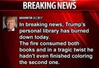 Trumpin kirjasto paloi!
