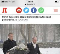 Matin hautajaiset ja asiaankuuluva mainos Iltalehdessä