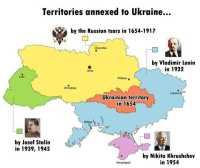 Venäjän ja Neuvostoliiton ukrainalaisille lahjoittamat alueet