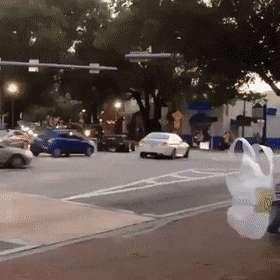 Muovipussi ylittää kadun